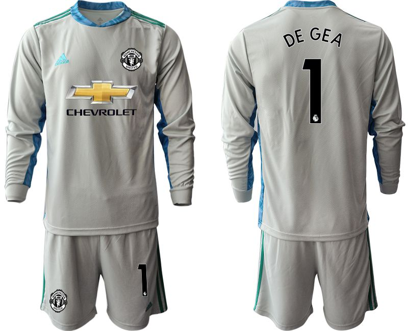 Wholesale Men 2020-2021 club Manchester United gray long sleeve goalkeeper 1 Soccer Jerseys