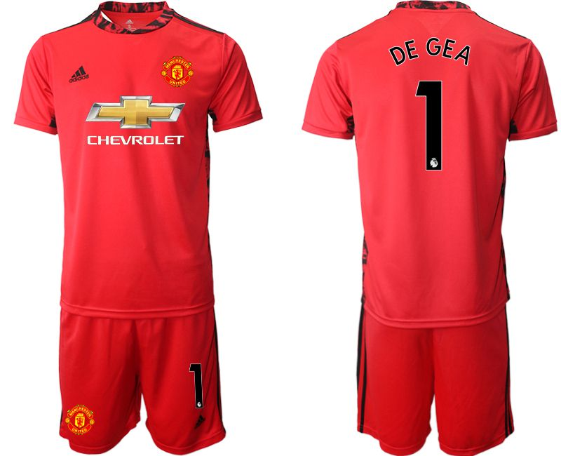 Wholesale Men 2020-2021 club Manchester United red goalkeeper 1 Soccer Jerseys