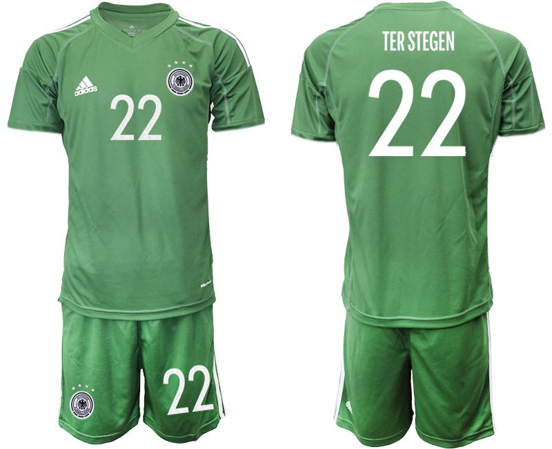 Cheap Men 2021 World Cup National Germany army green goalkeeper 22 Soccer Jerseys