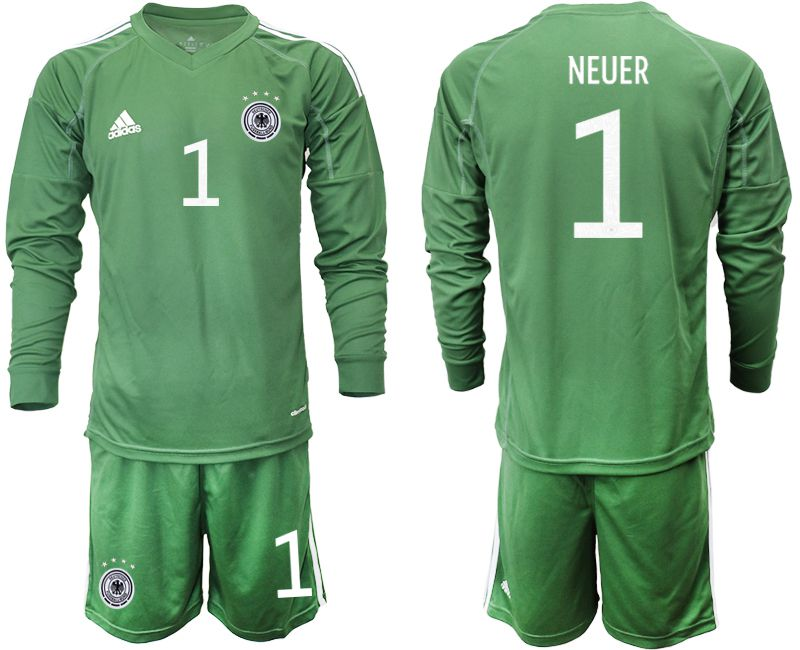 Cheap Men 2021 World Cup National Germany army green long sleeve goalkeeper 1 Soccer Jerseys