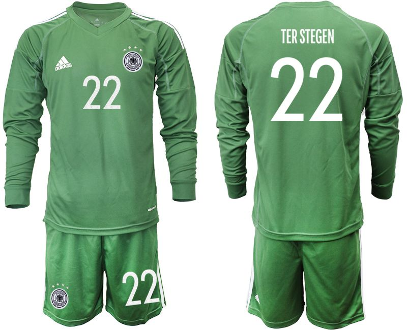 Cheap Men 2021 World Cup National Germany army green long sleeve goalkeeper 22 Soccer Jerseys