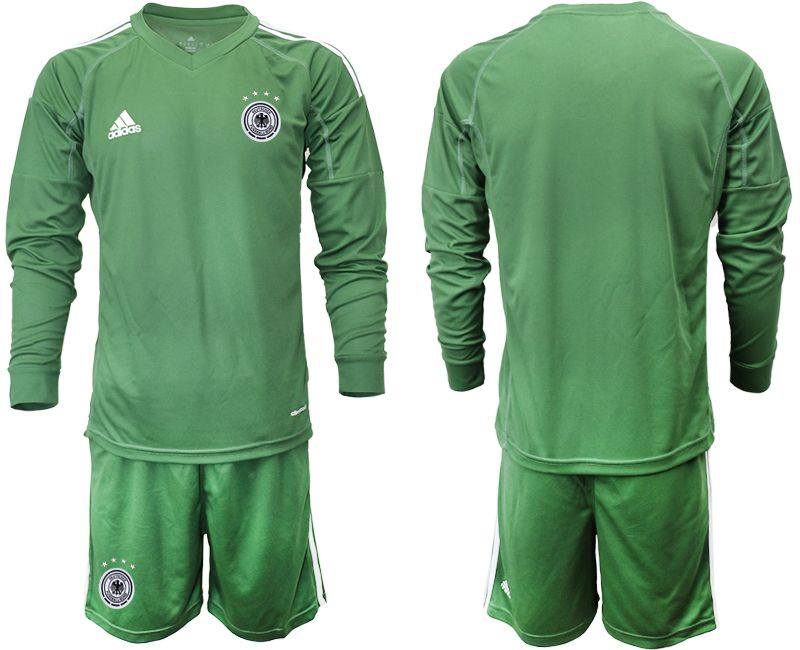 Cheap Men 2021 World Cup National Germany army green long sleeve goalkeeper Soccer Jerseys