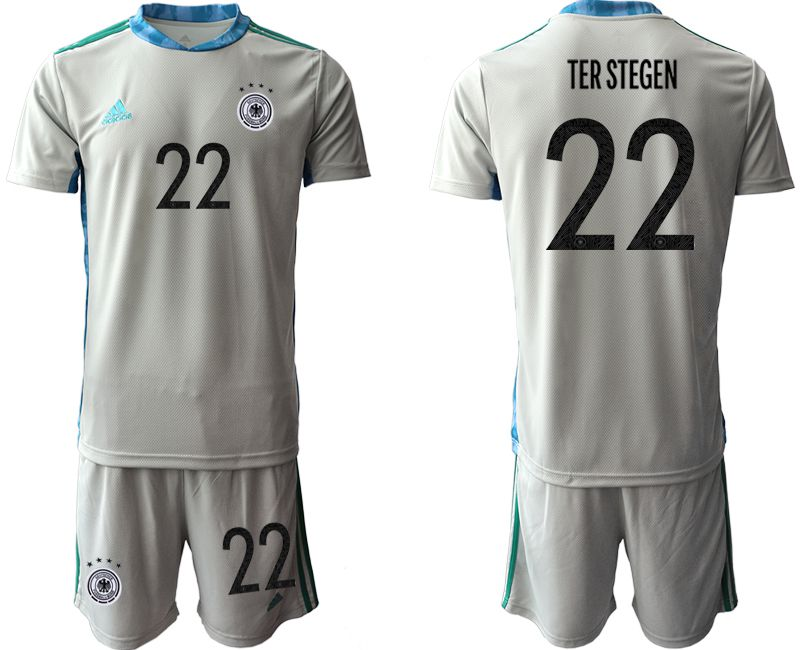 Men 2021 World Cup National Germany gray goalkeeper 22 Soccer Jerseys