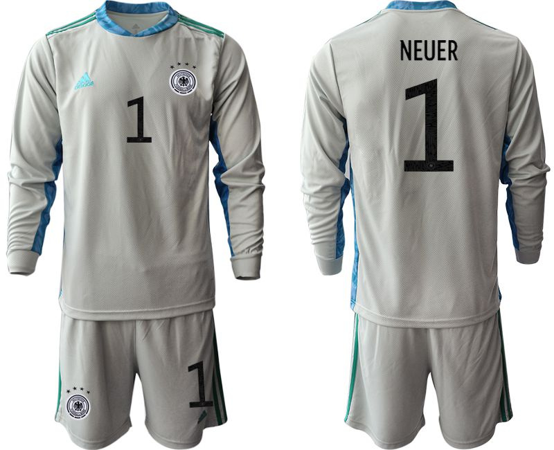 Men 2021 World Cup National Germany gray long sleeve goalkeeper 1 Soccer Jerseys