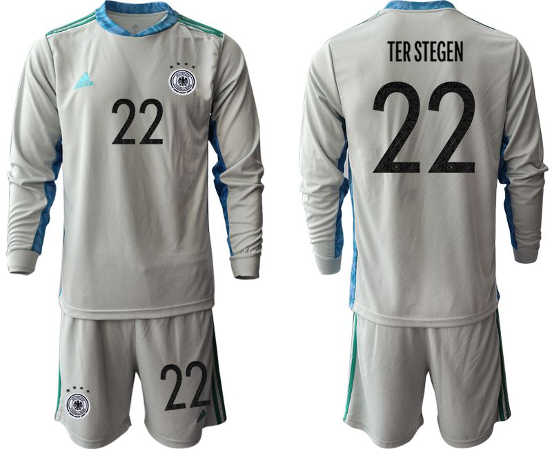 Men 2021 World Cup National Germany gray long sleeve goalkeeper 22 Soccer Jerseys
