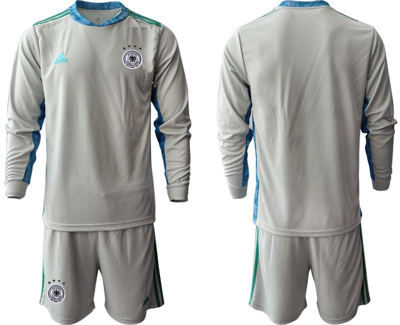 Men 2021 World Cup National Germany gray long sleeve goalkeeper Soccer Jerseys