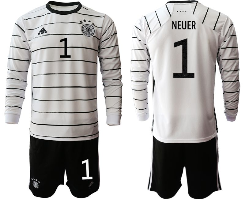 Cheap Men 2021 World Cup National Germany home long sleeve 1 white Soccer Jerseys