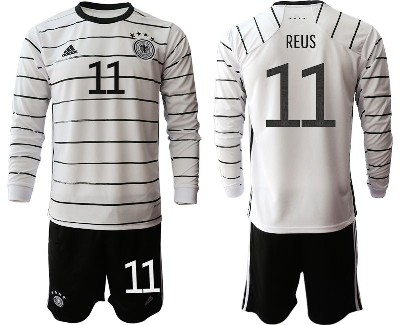 Cheap Men 2021 World Cup National Germany home long sleeve 11 white Soccer Jerseys