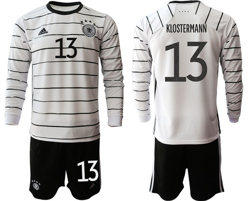 Wholesale Men 2021 World Cup National Germany home long sleeve 13 white Soccer Jerseys