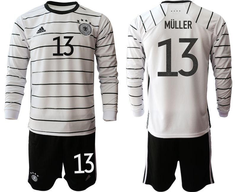 Wholesale Men 2021 World Cup National Germany home long sleeve 13 white Soccer Jerseys1