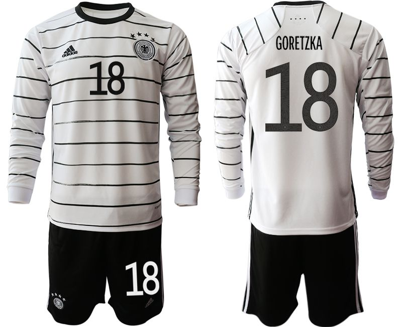 Wholesale Men 2021 World Cup National Germany home long sleeve 18 white Soccer Jerseys