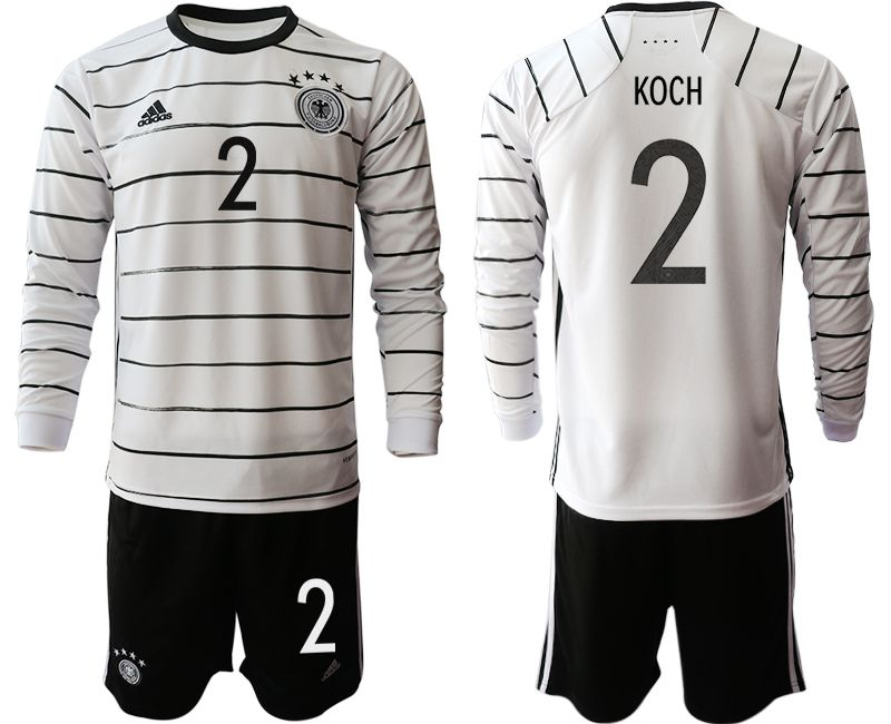 Men 2021 World Cup National Germany home long sleeve 2 white Soccer Jerseys