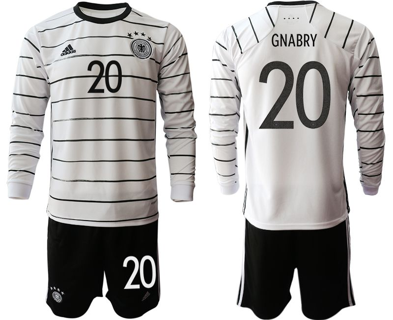 Men 2021 World Cup National Germany home long sleeve 20 white Soccer Jerseys