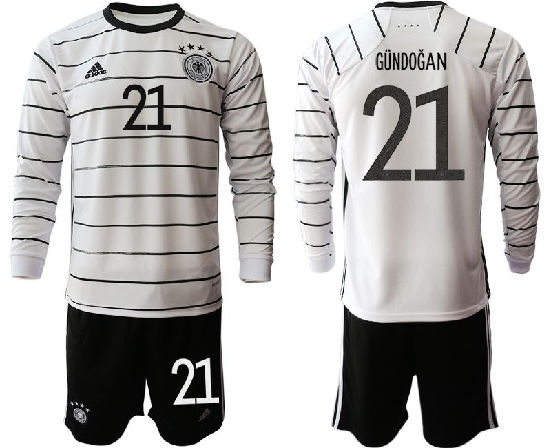 Cheap Men 2021 World Cup National Germany home long sleeve 21 white Soccer Jerseys