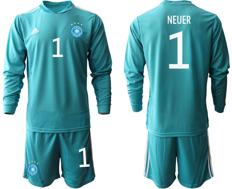 Wholesale Men 2021 World Cup National Germany lake blue long sleeve goalkeeper 1 Soccer Jerseys