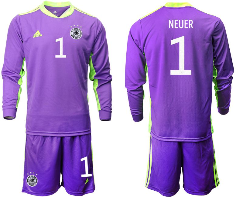 Wholesale Men 2021 World Cup National Germany purple long sleeved Goalkeeper 1 Soccer Jerseys