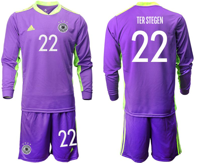 Wholesale Men 2021 World Cup National Germany purple long sleeved Goalkeeper 22 Soccer Jerseys