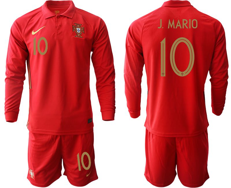 Wholesale Men 2021 World Cup National Portugal home Long sleeve 10 red Soccer Jerseys