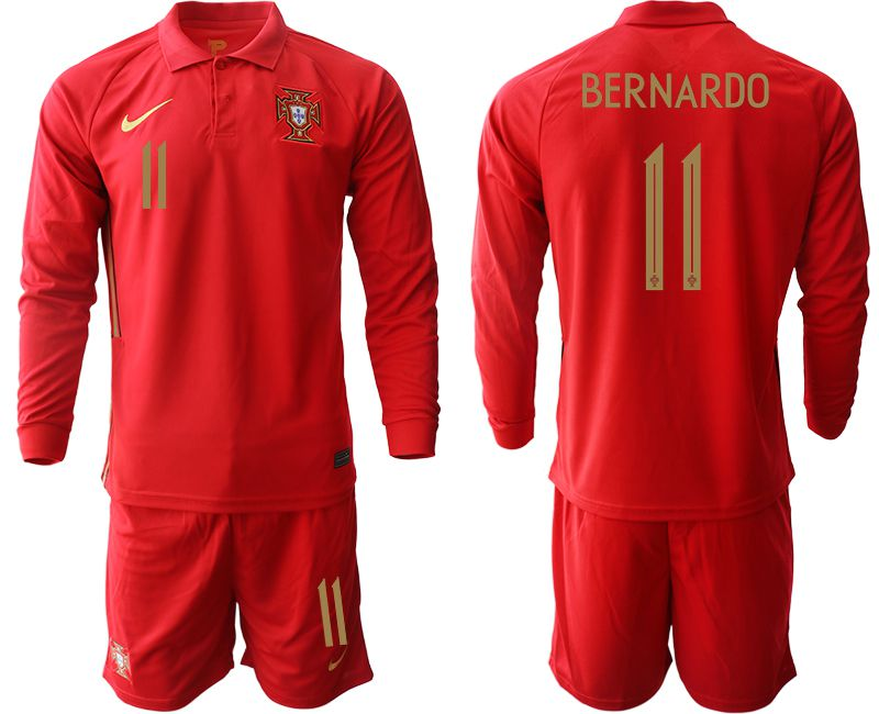 Wholesale Men 2021 World Cup National Portugal home Long sleeve 11 red Soccer Jerseys