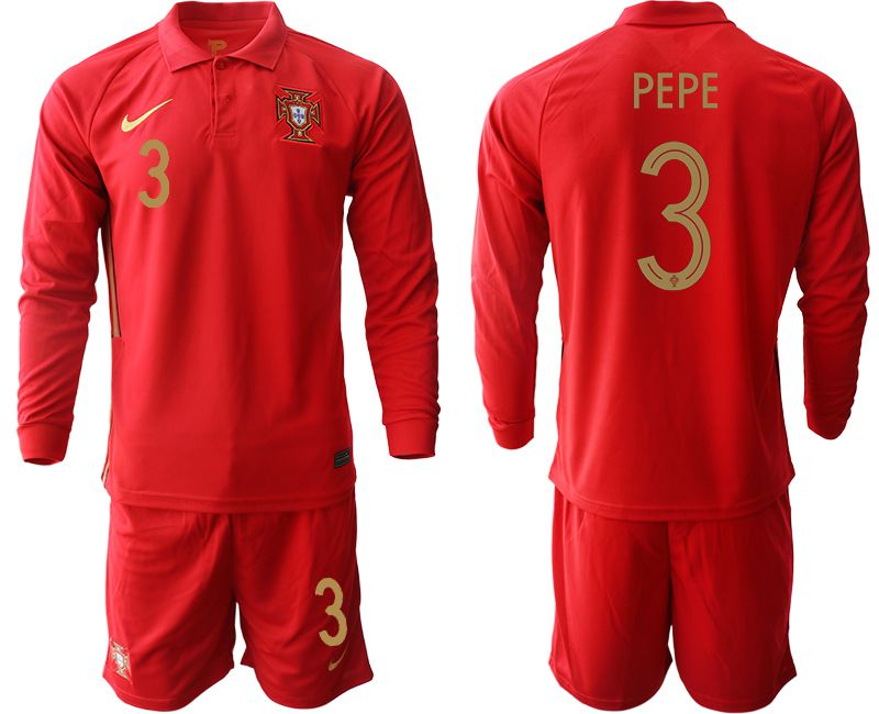 Wholesale Men 2021 World Cup National Portugal home Long sleeve 3 red Soccer Jerseys