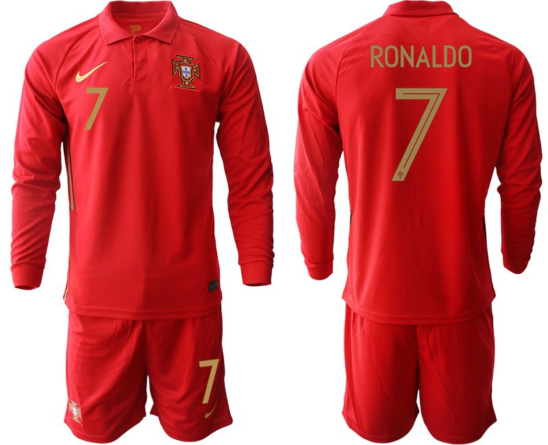 Wholesale Men 2021 World Cup National Portugal home Long sleeve 7 red Soccer Jerseys