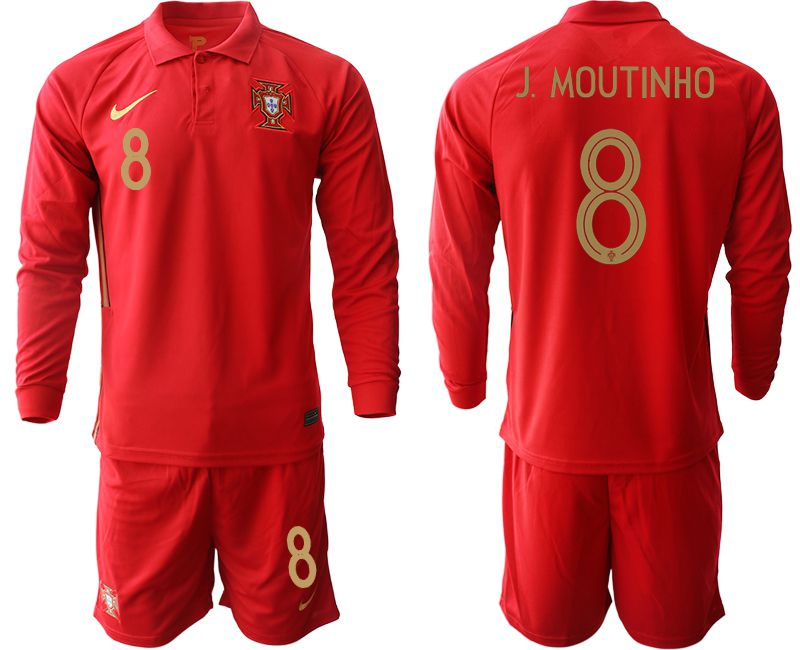 Wholesale Men 2021 World Cup National Portugal home Long sleeve 8 red Soccer Jerseys