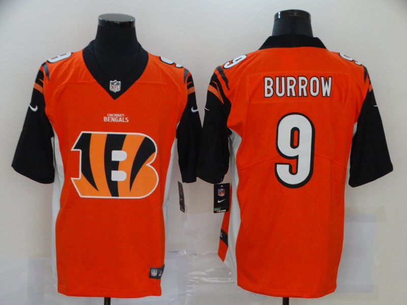 Cheap Men Cincinnati Bengals 9 Burrow Orange Nike Team logo fashion NFL Jersey