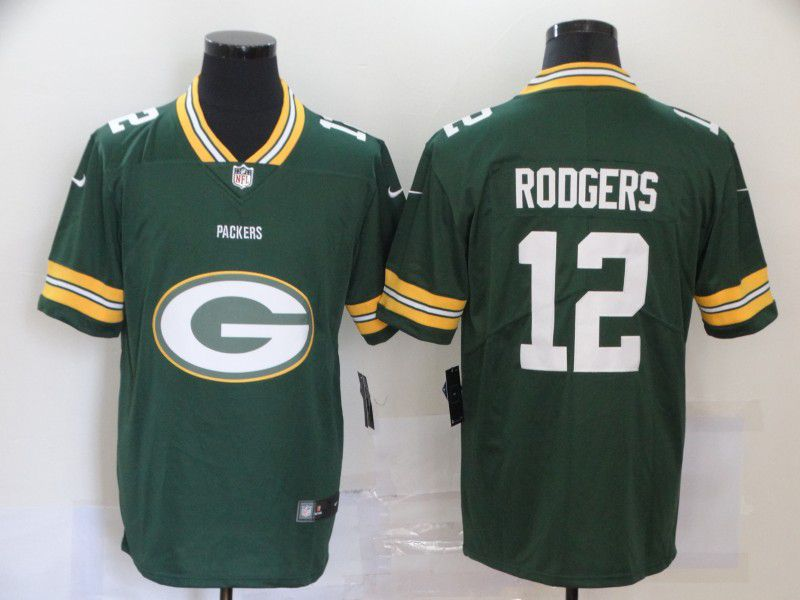 Cheap Men Green Bay Packers 12 Rodgers Green Nike Team logo fashion NFL Jersey