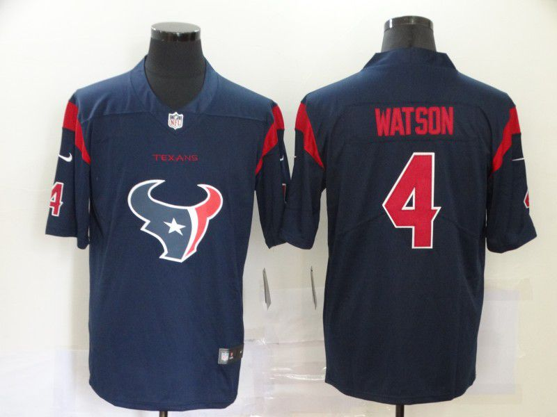 Cheap Men Houston Texans 4 Watson Blue Nike Team logo fashion NFL Jersey