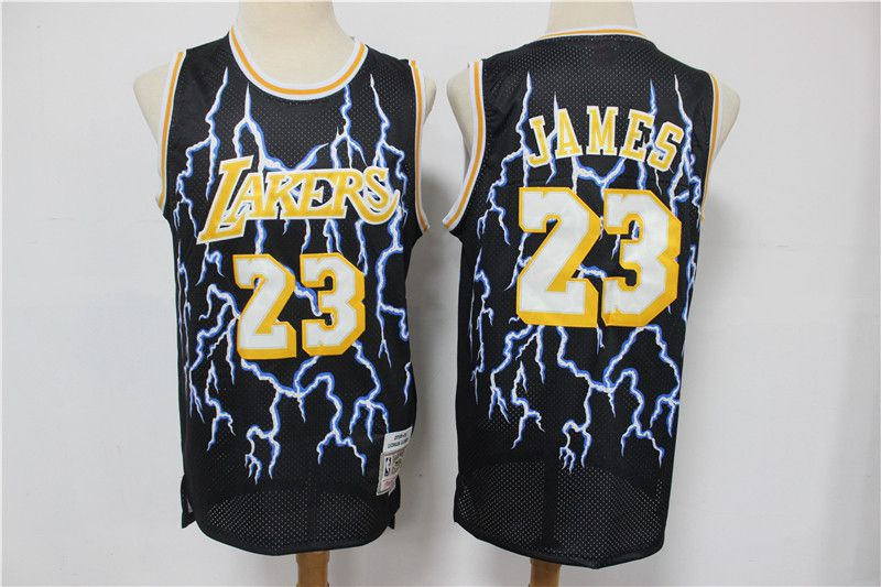 Wholesale Men Los Angeles Lakers 23 James Black Retro flash Limited Edition NBA Jerseys