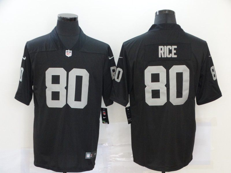 Cheap Men Oakland Raiders 80 Rice Black 2020 Vapor Untouchable Playe Nike NFL Jersey