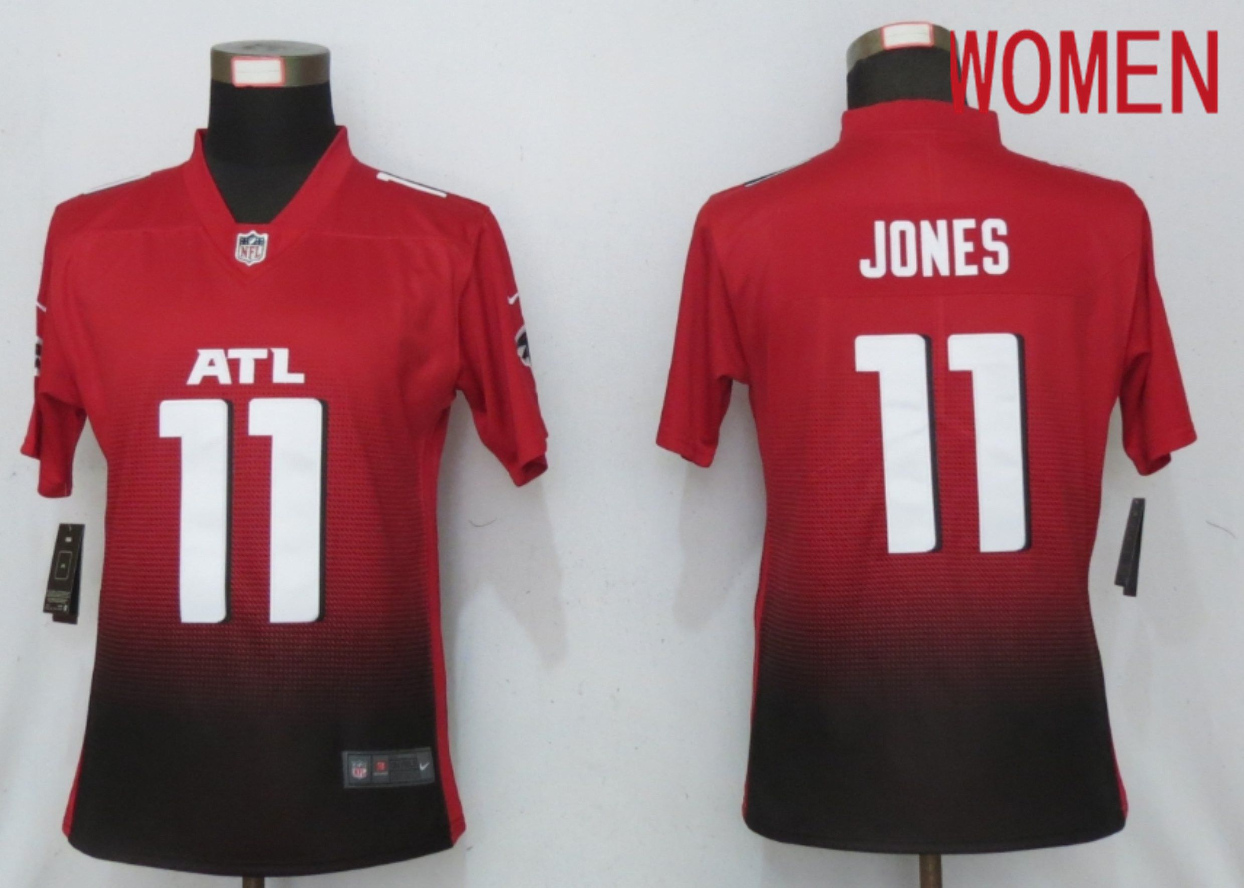 Cheap Women Atlanta Falcons 11 Jones Red 2nd Alternate Elite Playe Nike NFL Jersey