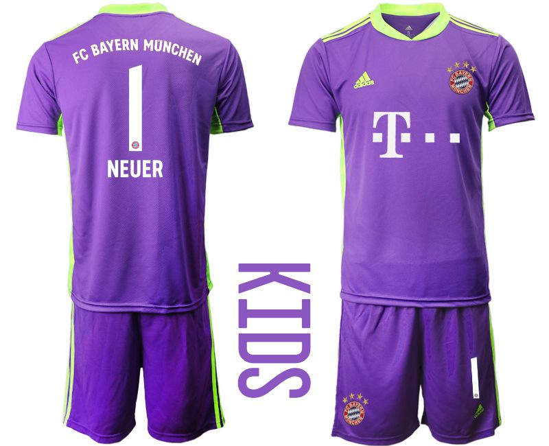 Cheap Youth 2020-2021 club Bayern Munich Russia purple goalkeeper 1 Soccer Jerseys