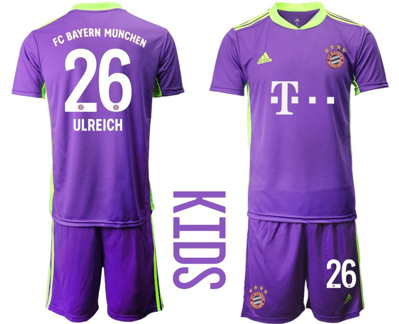 Cheap Youth 2020-2021 club Bayern Munich Russia purple goalkeeper 26 Soccer Jerseys