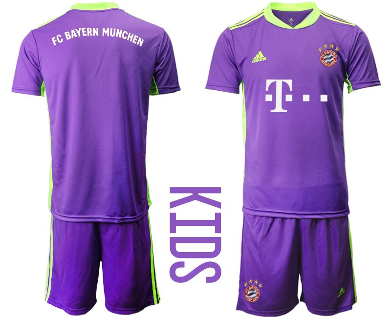 Cheap Youth 2020-2021 club Bayern Munich Russia purple goalkeeper Soccer Jerseys