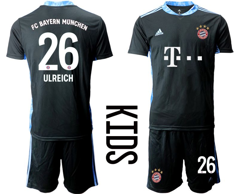 Cheap Youth 2020-2021 club Bayern Munich black goalkeeper 26 Soccer Jerseys