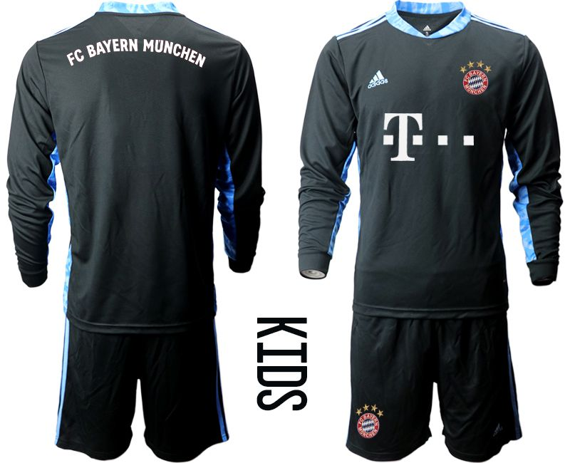Cheap Youth 2020-2021 club Bayern Munich black long sleeve goalkeeper Soccer Jerseys
