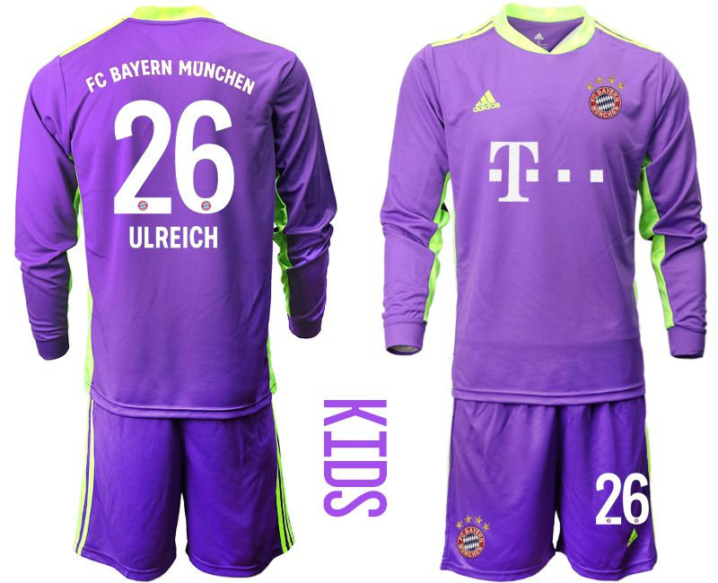 Cheap Youth 2020-2021 club Bayern Munich purple long sleeved Goalkeeper 26 Soccer Jerseys