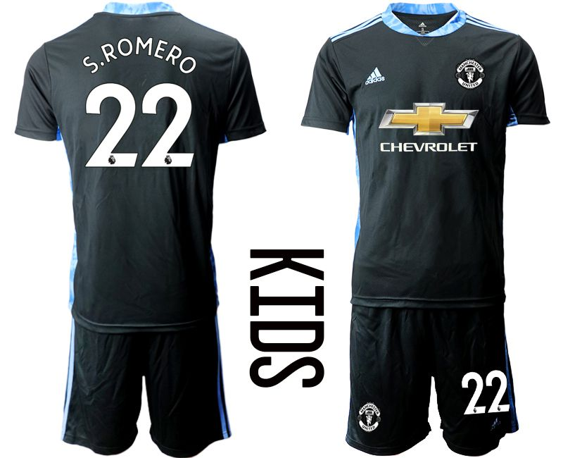Youth 2020-2021 club Manchester United black goalkeeper 22 Soccer Jerseys1