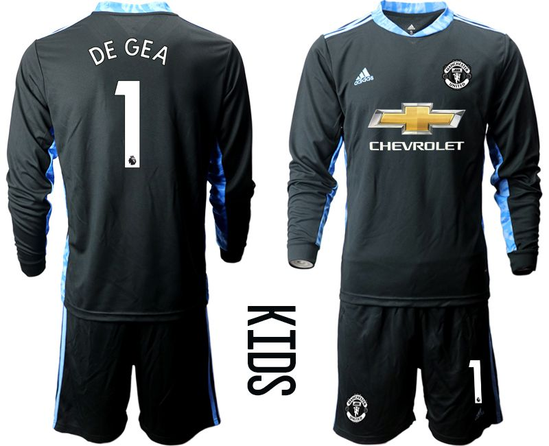 Youth 2020-2021 club Manchester United black long sleeve goalkeeper 1 Soccer Jerseys