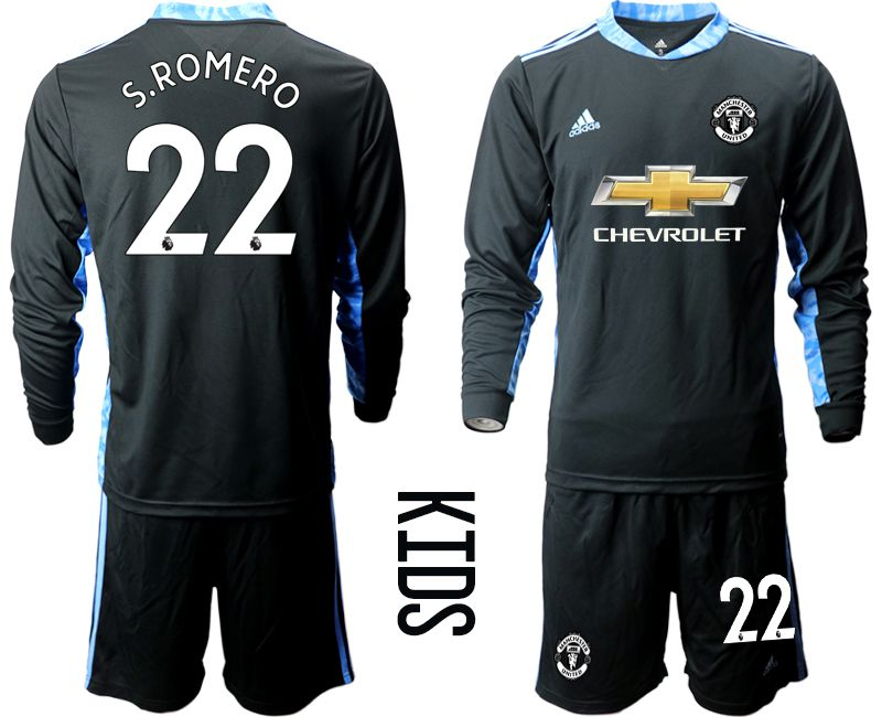 Youth 2020-2021 club Manchester United black long sleeve goalkeeper 22 Soccer Jerseys