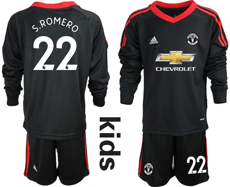 Youth 2020-2021 club Manchester United black long sleeve goalkeeper 22 Soccer Jerseys2