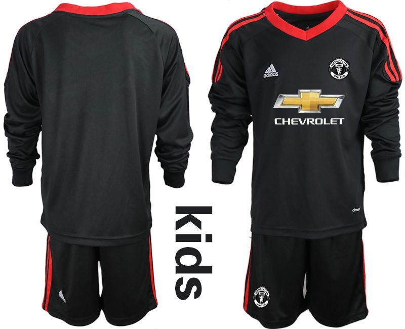 Youth 2020-2021 club Manchester United black long sleeve goalkeeper Soccer Jerseys2
