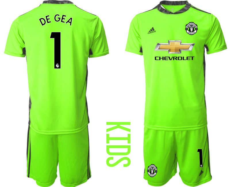 Youth 2020-2021 club Manchester United fluorescent green goalkeeper 1 Soccer Jerseys