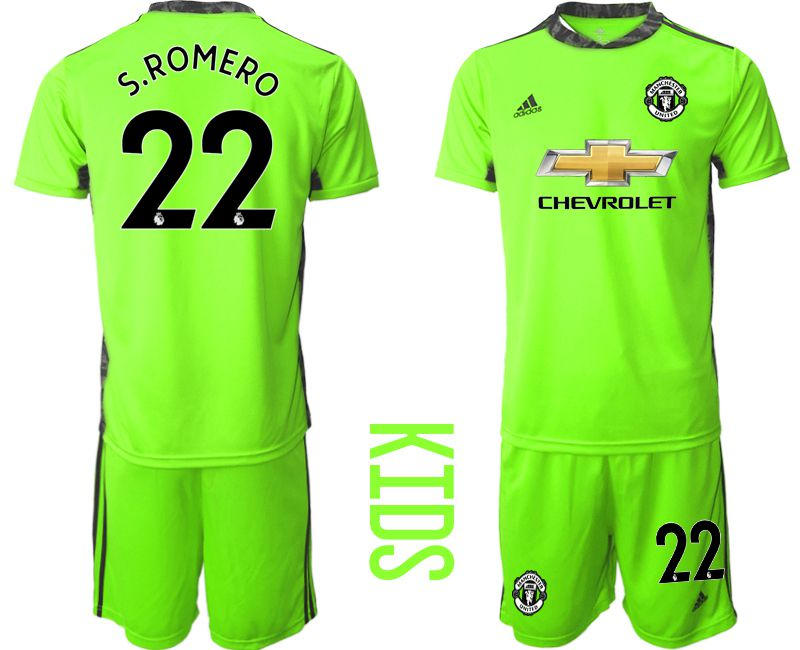 Youth 2020-2021 club Manchester United fluorescent green goalkeeper 22 Soccer Jerseys