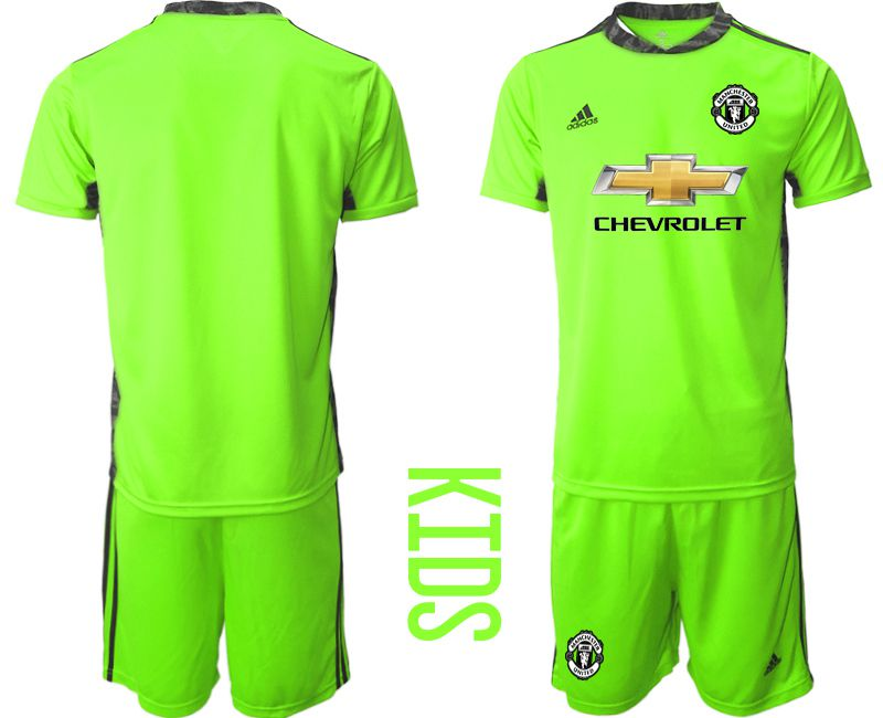 Youth 2020-2021 club Manchester United fluorescent green goalkeeper Soccer Jerseys