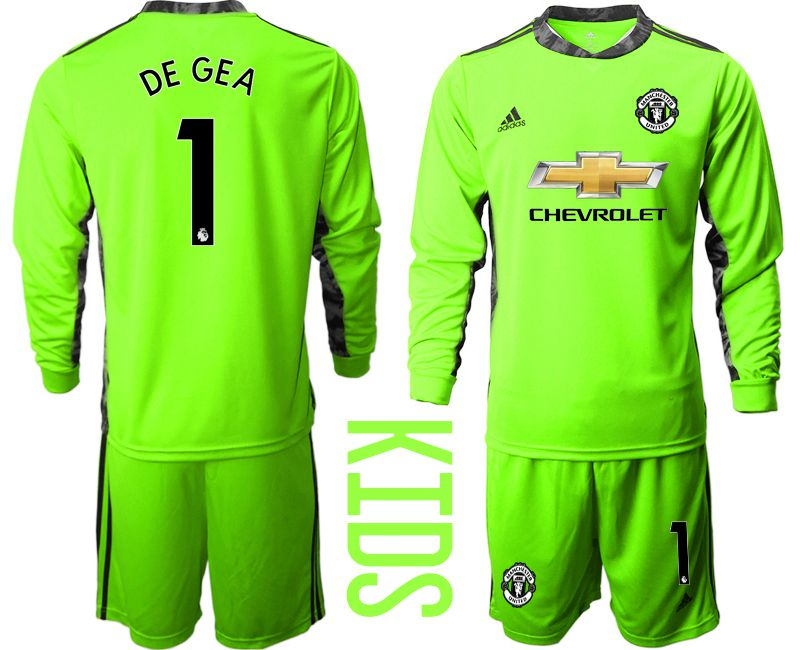 Youth 2020-2021 club Manchester United fluorescent green goalkeeper long sleeve 1 Soccer Jerseys