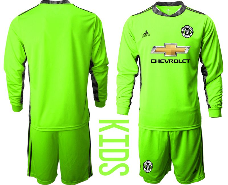Youth 2020-2021 club Manchester United fluorescent green goalkeeper long sleeve Soccer Jerseys