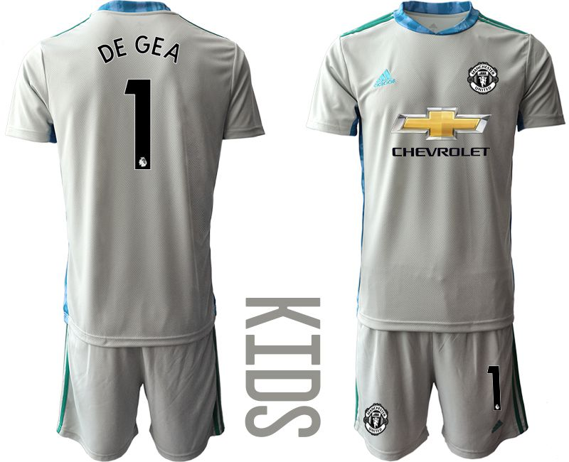 Youth 2020-2021 club Manchester United gray goalkeeper 1 Soccer Jerseys