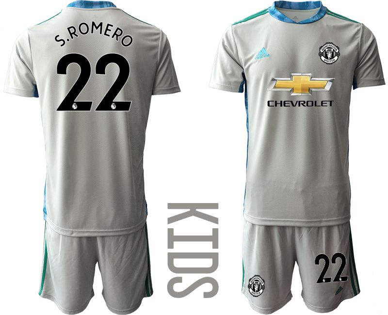 Youth 2020-2021 club Manchester United gray goalkeeper 22 Soccer Jerseys